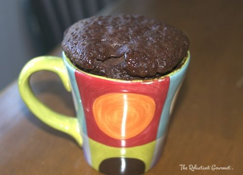 Chocolate Cake in a Mug ....I used two packs of hot cocoa mix instead ...