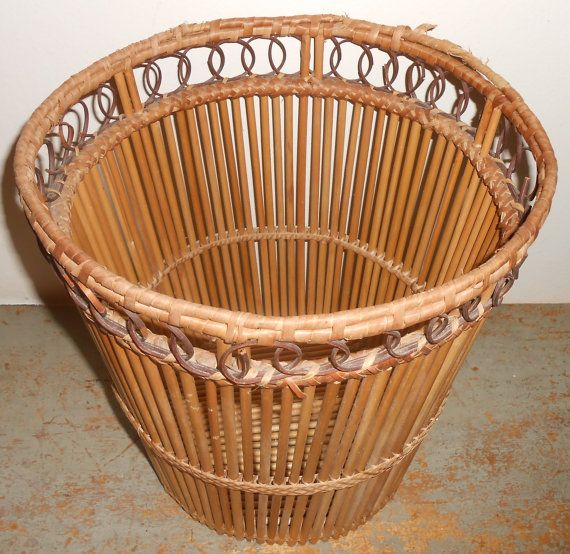 Vintage waste basket bamboo wicker trash bin waste paper basket - Wicker trash basket ...