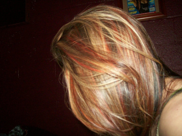blonde highlights over brown hair with red and black chunks, black ...