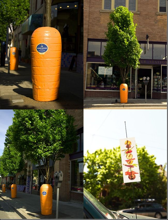Carrot trees - marketing concept for a street market  This is in Portland, marketing to disclose a street market, where trees have turned into giant carrots.