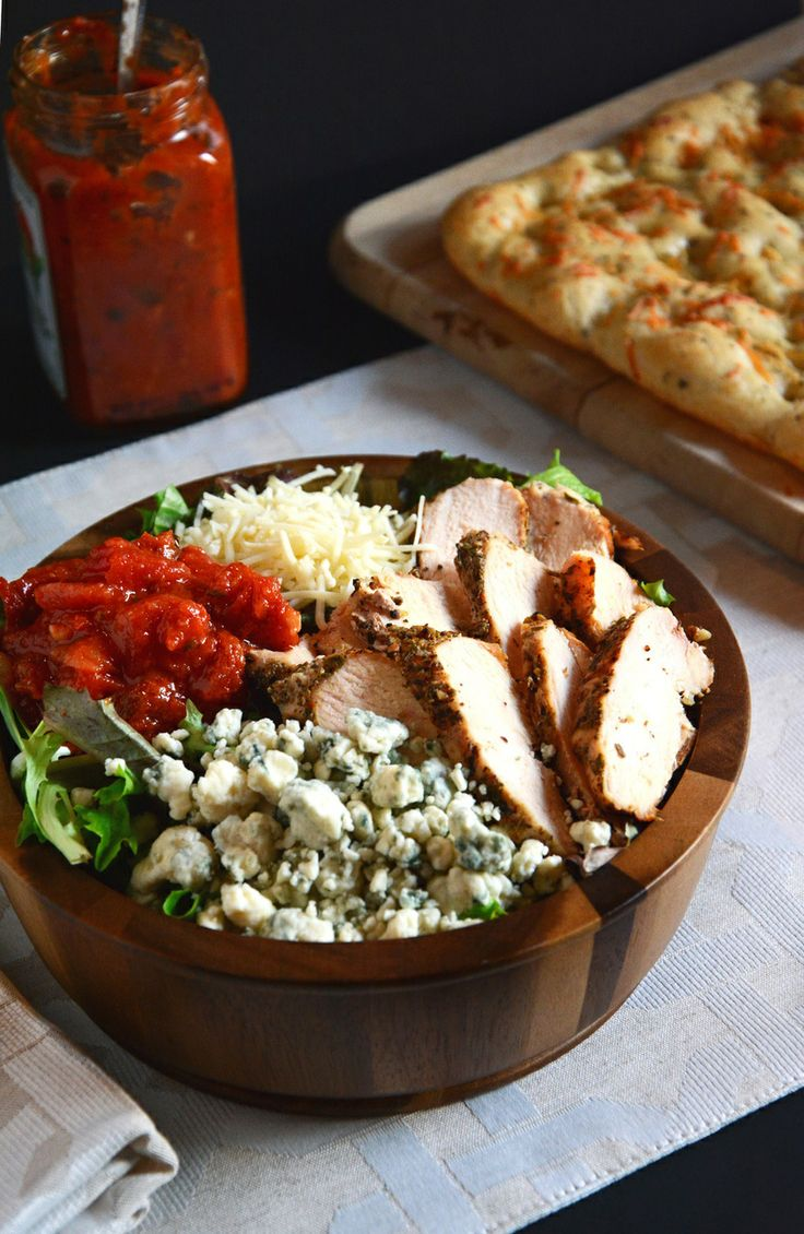 ... blue cheese, parm, bruschetta topping, grilled chicken with balsamic
