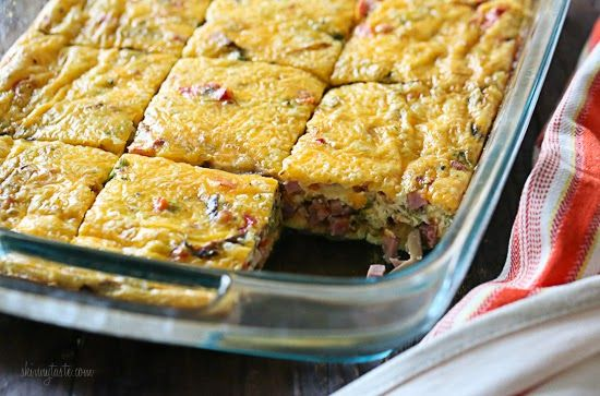 ... this 6/2014... Yummy.... Veggie Ham Egg and Cheese Bake | Skinnytaste