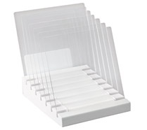 The In Place Desktop File Sorter from Peter Walsh's line at Office Max. You can remove the dividers for large files.