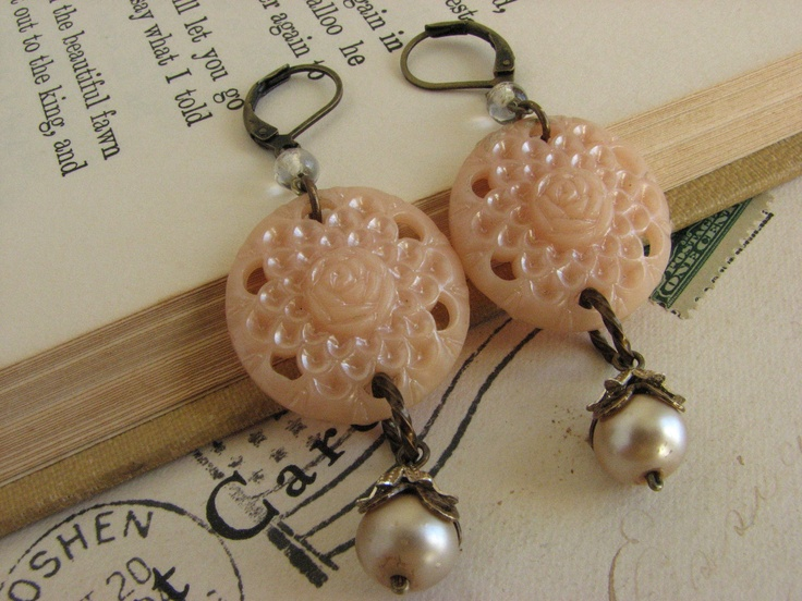 Vintage Rose Button Earrings -pink shabby chic button and pearl earrings-. $25.00, via Etsy.