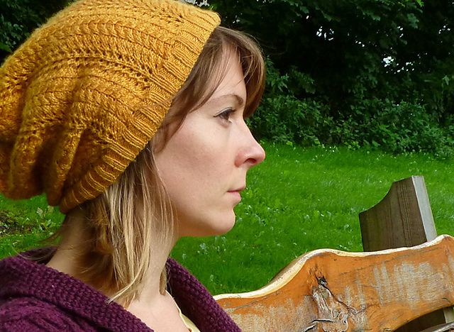Autumn Gold Beanie/Slouch Hat pattern by Buttons and Beeswax   Pattern on Ravelry
