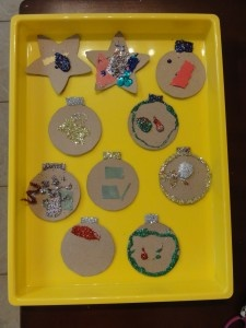 ornaments made with cereal box cardboard