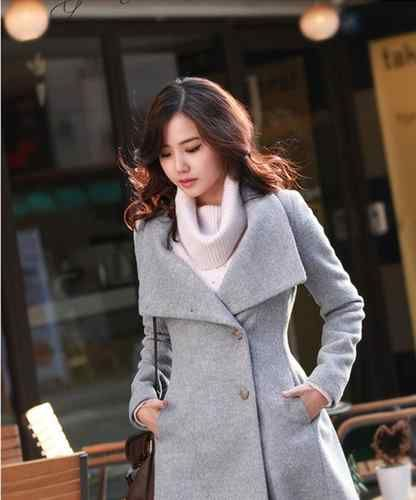 New Winter Womens Fashion Wool Cashmere Noble Long Trench Coat Outwear