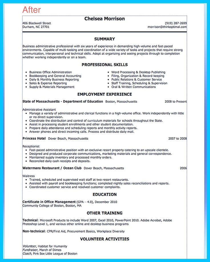 Sample resume for school administrative officer  REASONSCHECKSGA