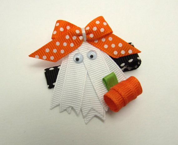Ghost Sculptured Ribbon Hair Clip on Etsy, $4.00