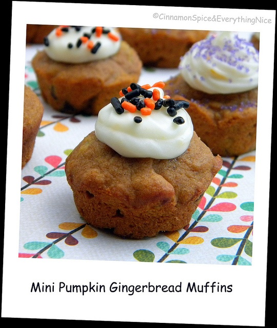 Pumpkin Gingerbread Muffins with Orange Cream Cheese Frosting ...