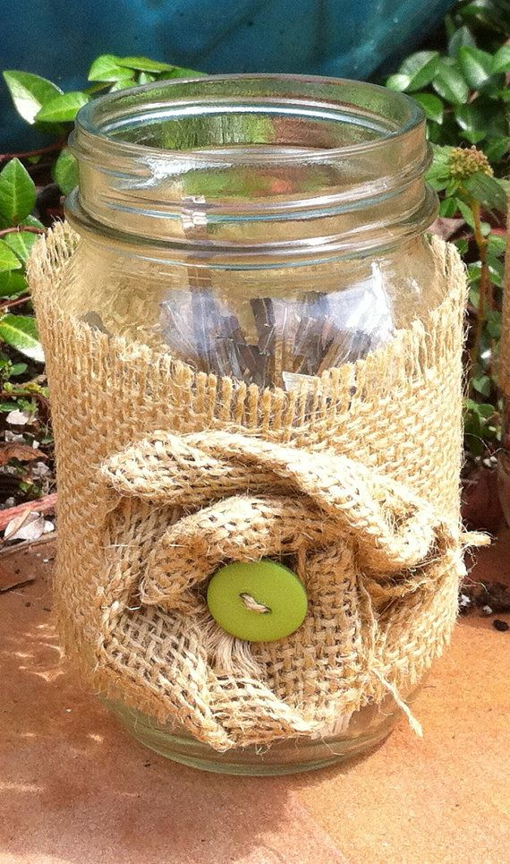 burlap with buttons for baby shower decor