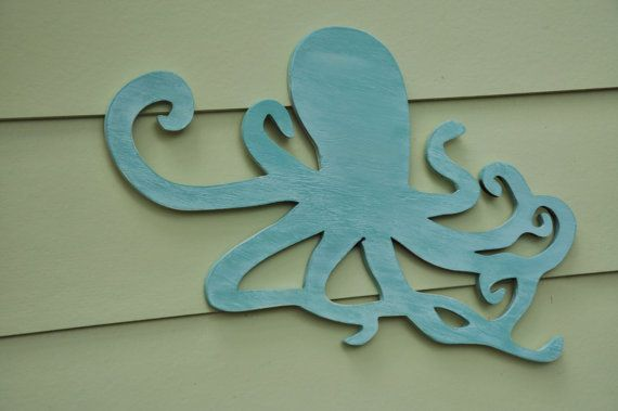 Wooden Octopus Wall Decor : Wooden hand painted chic octopus wall hanging decor