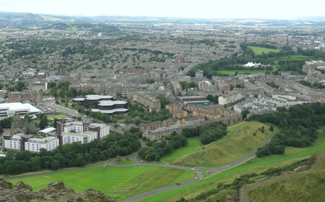 The view from Holyrood Seat, highest point in Edinburgh.