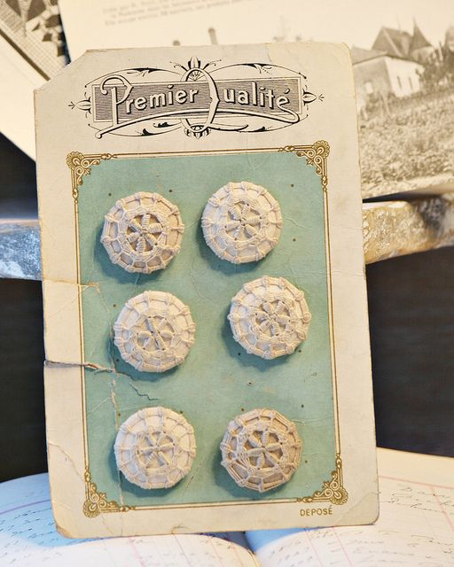 crocheted buttons on card