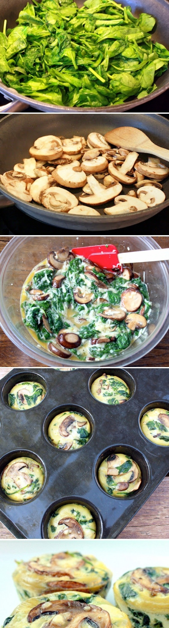 Spinach Mushroom Egg Cups - made them and added onion and an orange ...
