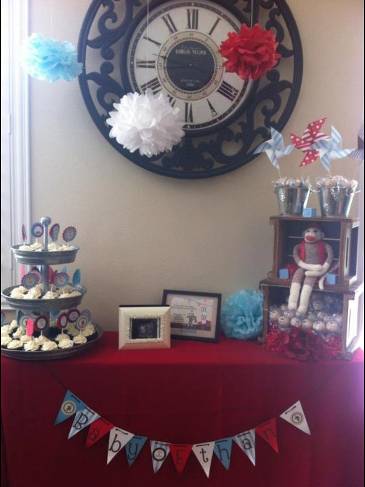 sock monkey baby shower theme