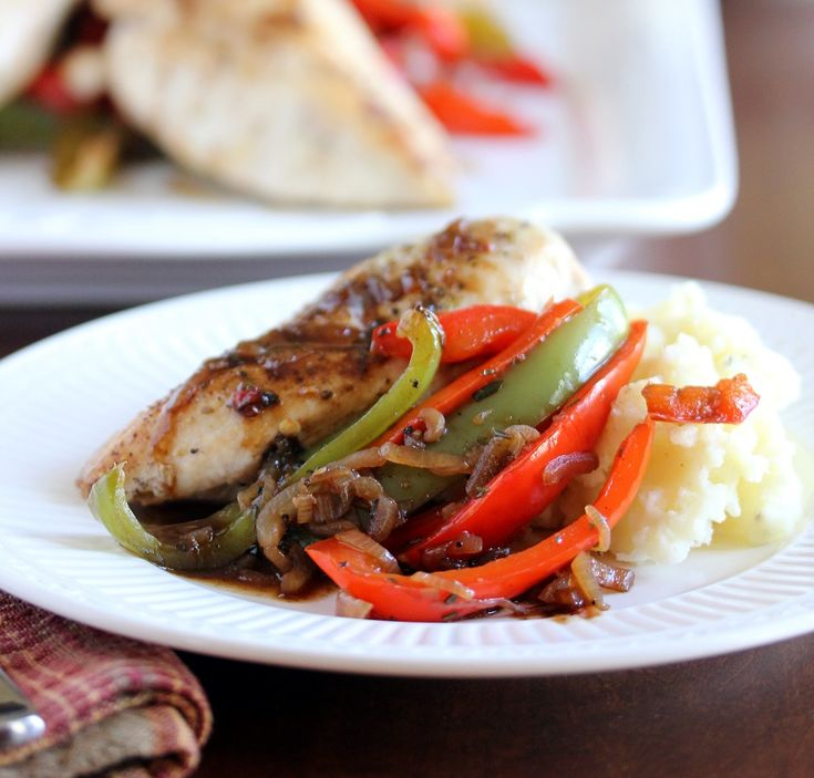 Roast Chicken with Balsamic Bell Pepper and Mascarpone Mashed Potatoes