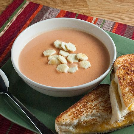 cream of tomato soup. all i need now is a crusty grilled cheese ...