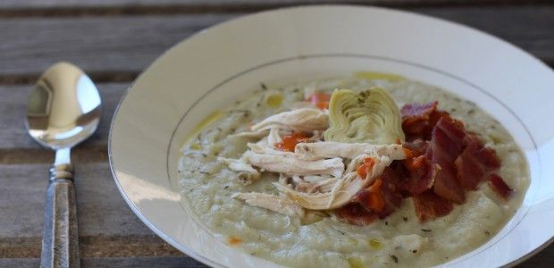Simple Creamy Cauliflower and Artichoke Soup | Recipe
