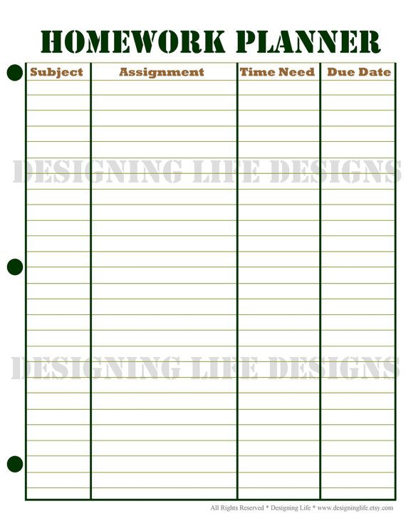 assignment planner template printable