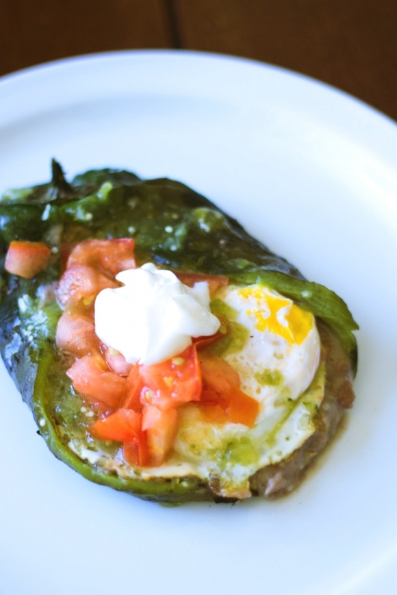 stuffed poblano chiles - could be a unique breakfast... or dinner.
