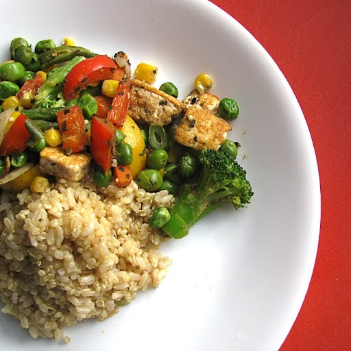 Brown Rice Stir-Fry With Flavored Tofu And Vegetables Recipe ...