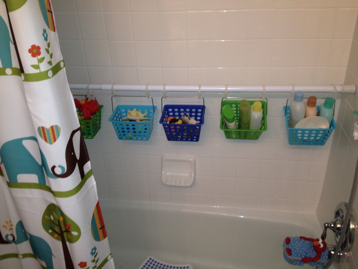 Completed kids bath tub organization!