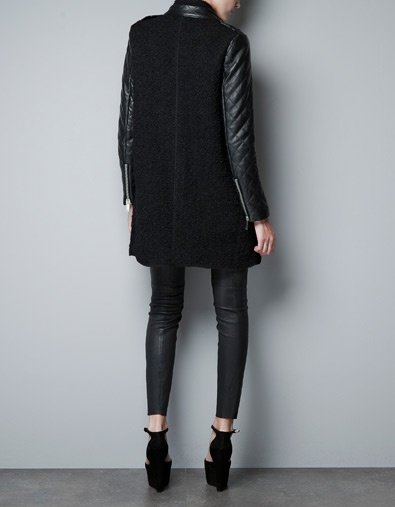 Zara coat with quilted leather sleeves. $229