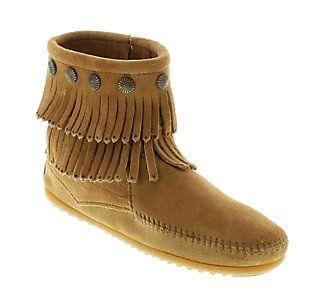 Women's Minnetonka Double Fringe Side Zip Boots   Scheels
