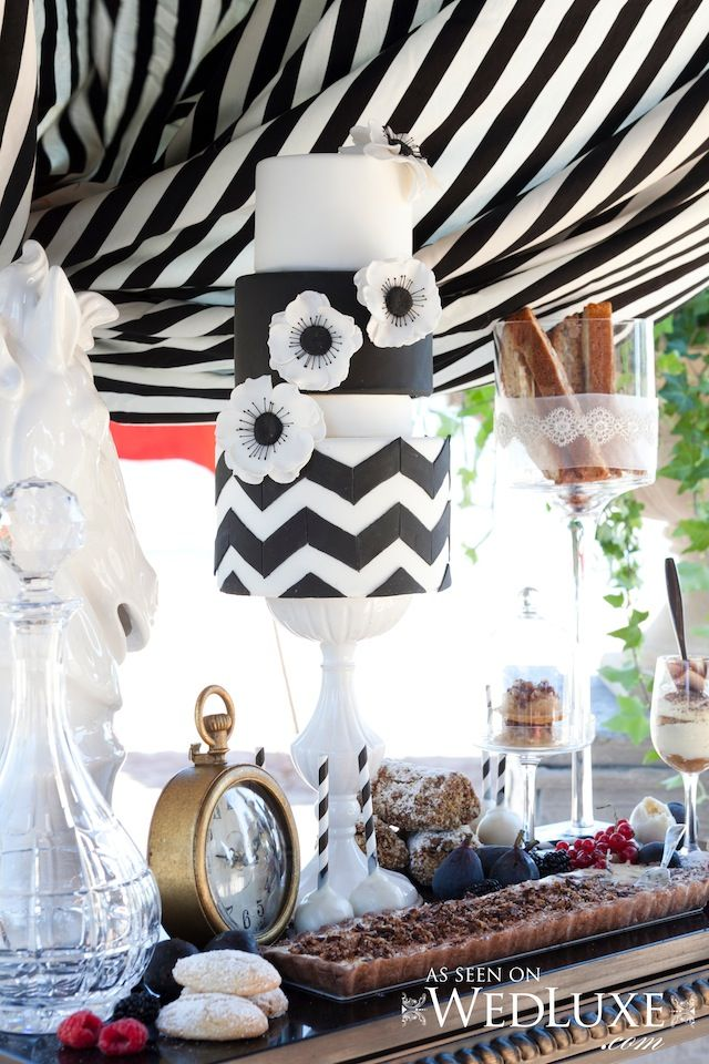 Gorgeous Chevron Black and White Wedding Cake... But I'd loose the flowers and have it as my birthday cake.