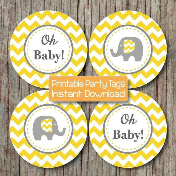 grey chevron baby shower decorations printable party supplies