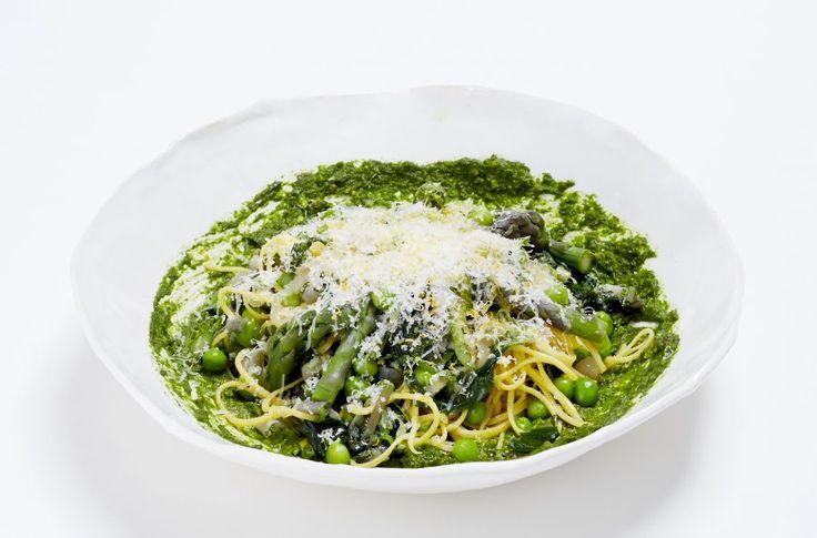 Spaghetti With Spring Vegetables, Ramp Pesto And Pecorino Recipe # ...