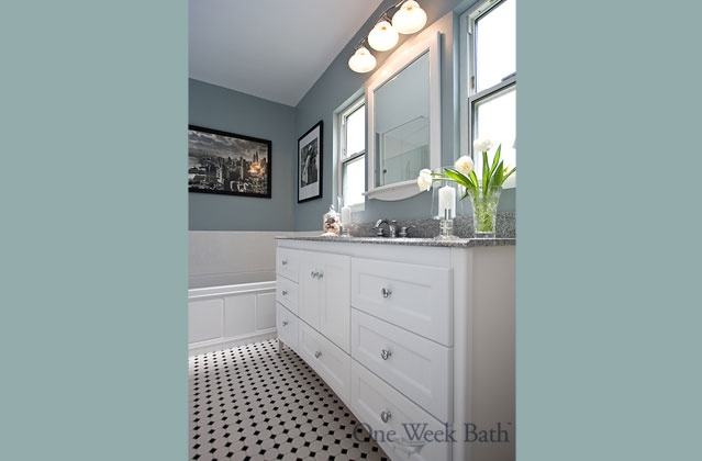 and great way to put vanity next to tub bathroom pinterest