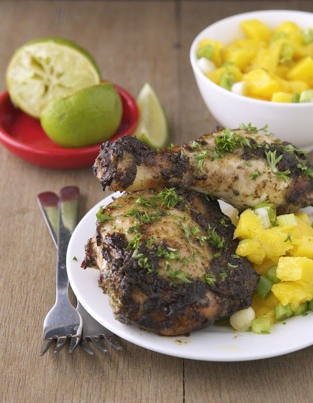 Jamaican Jerk Salmon And Mango Pineapple Salsa Recipe — Dishmaps