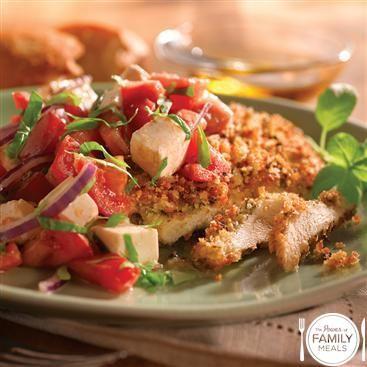 Crunchy Pesto Chicken Paillards with Caprese Salsa | Recipe