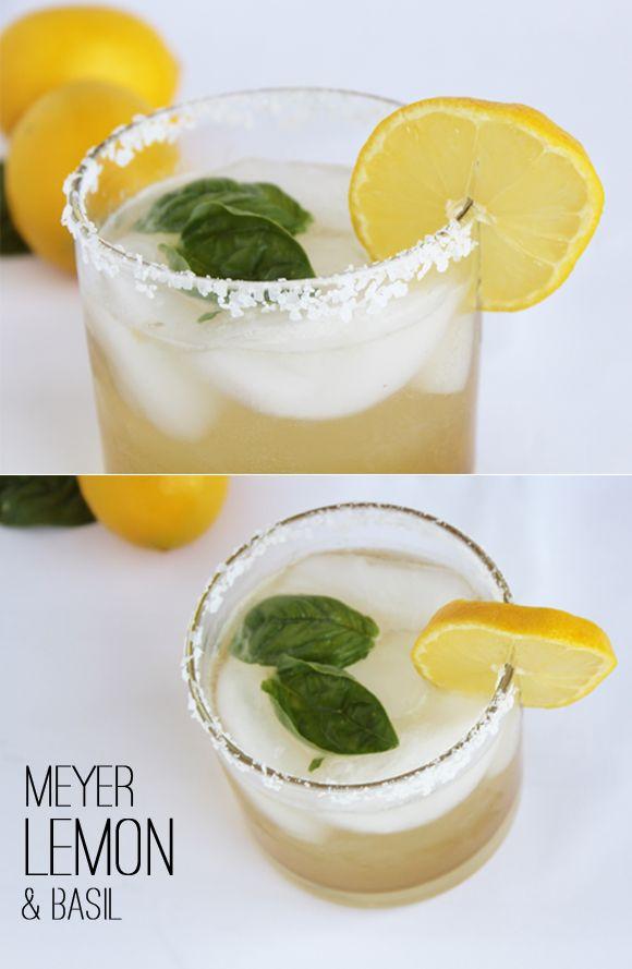 Meyer Lemon & Basil Margarita | Cheers to Cocktails! | Pinterest