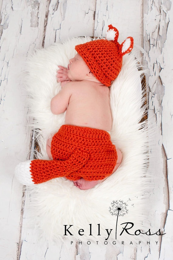 Crocheted Fox hat with Matching Diaper