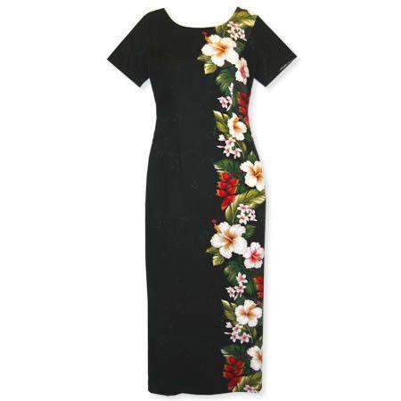 Paradise black long sleeve hawaiian dress for Hawaiian wedding dresses with sleeves