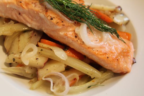 Seared Salmon with Shallot Sauce and Thyme-Roasted Vegetables - Katie ...