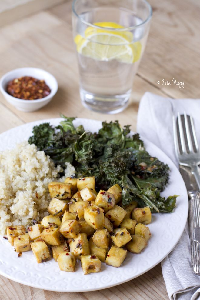 lemon herb roasted tofu and kale with quinoa (recipe from ...