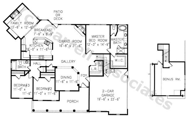 02315 Fairville House Plan, 1st Floor Plan, Master Down House Plans, Ranch Style House Plans, Wheelchair Accessible House Plans