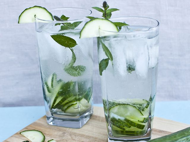 Cucumber Gin Fizz 2 oz Gin 1 oz Simple Syrup Juice of 1 Lime 2 Slices ...