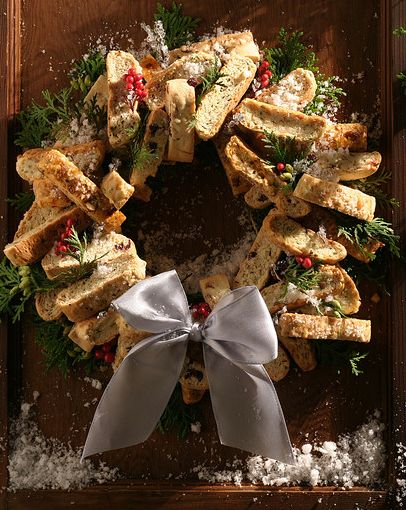 Savory biscotti and herb wreath for christmas/winter party
