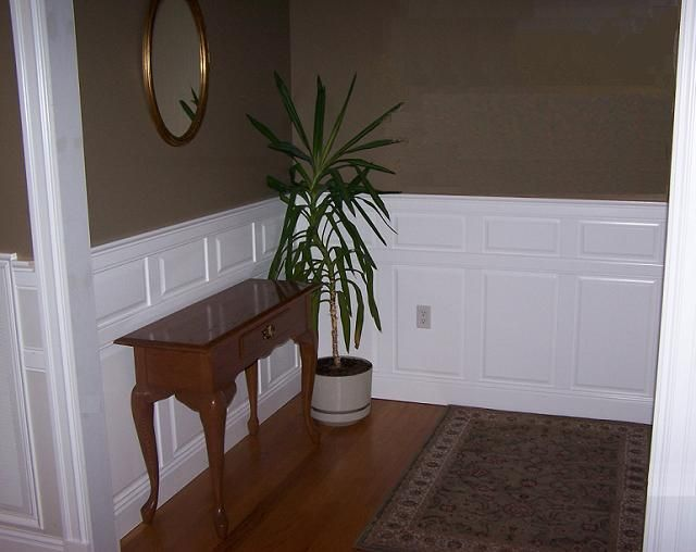 Great Room Brown Walls White Wainscoting Classic Traditional