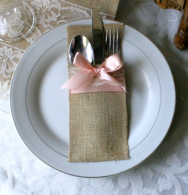 Silverware holder like this, just not in burlap and not pink
