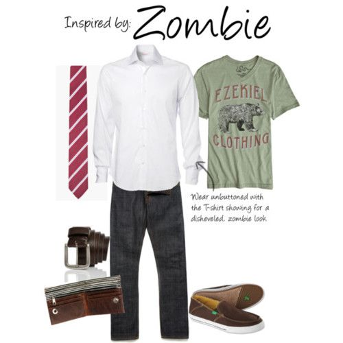 """Zombie (Plants Vs. Zombies) by ladysnip3r featuring screen print tees      This outfit is inspired the Zombie of Plants Vs. Zombies. I chose to do a button up that can be worn unbuttoned to give a sort of """"zombie"""" look without any of those rips. I also chose a t-shirt in the same colors as the Zombie's skin color. I found basically the same tie that the Zombie wears and paired that with dark brown accessories. This outfit is pretty casual, even though it has a tie, and could be wo"""