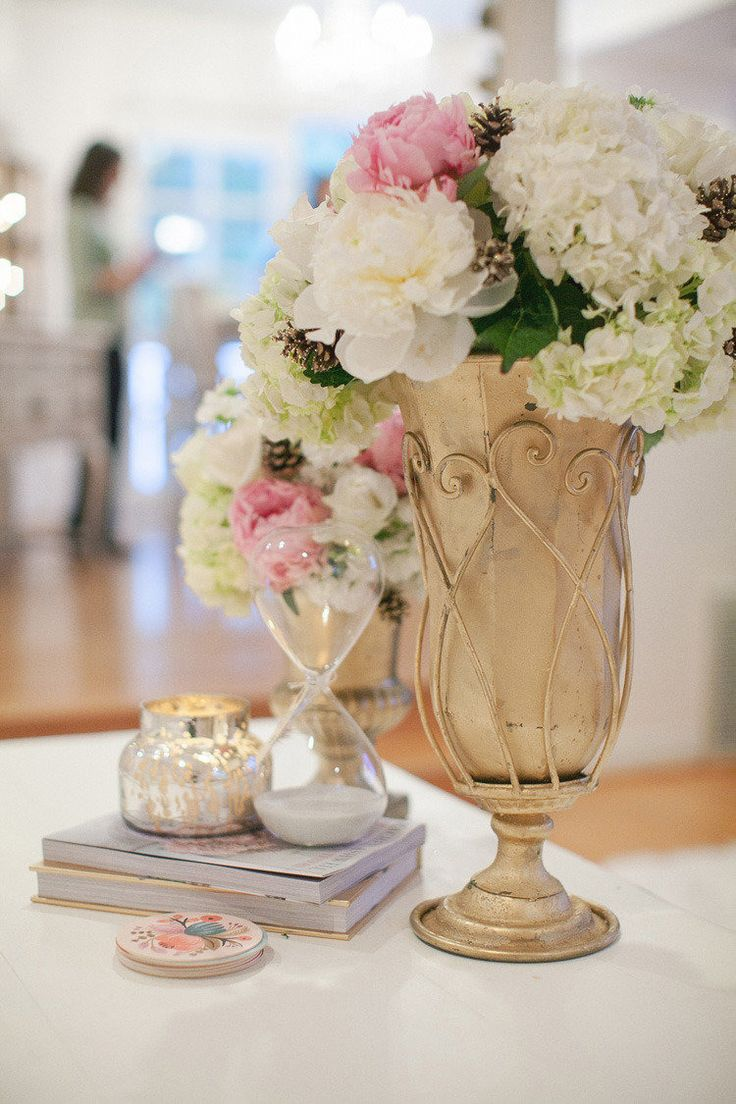 #hydrangea, #peony, #vases  Photography: Bryan N. Miller - bmillerweddings.com/  Read More: http://www.stylemepretty.com/living/2012/12/18/smp-at-home-holiday-decorating-from-couture-events/
