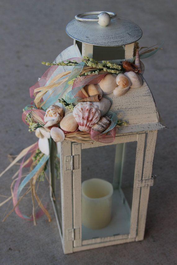 Beach themed wedding lanterns centerpieces