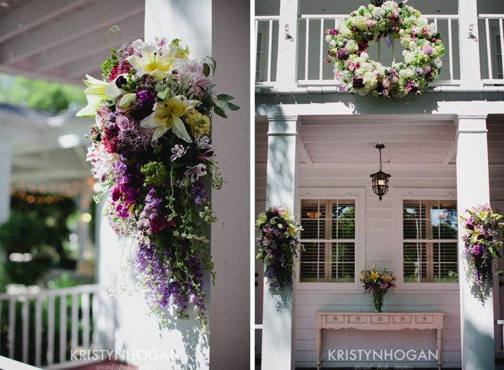 Wine barn wedding front porch decor here comes the bride for How to decorate a patio for a wedding