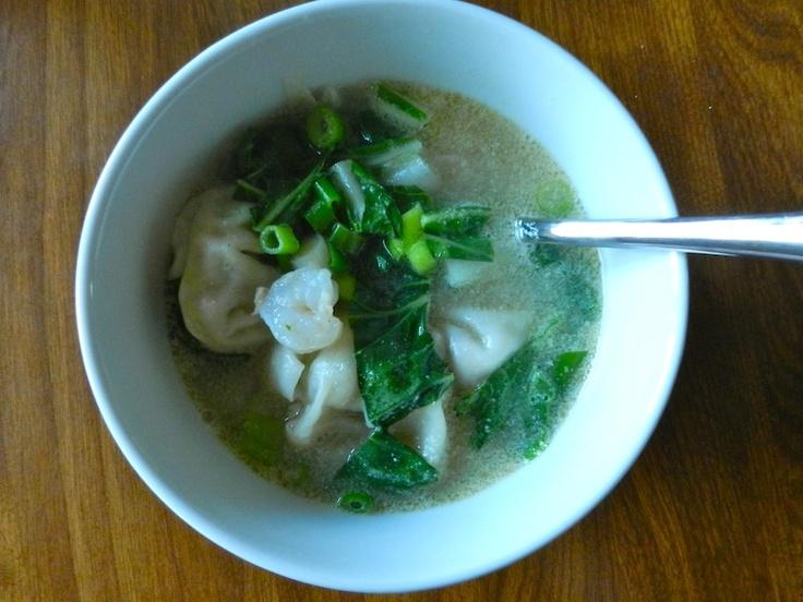 Wonton Soup: 40 wonton wrappers 1 bunch green onion, diced 1 pound ...